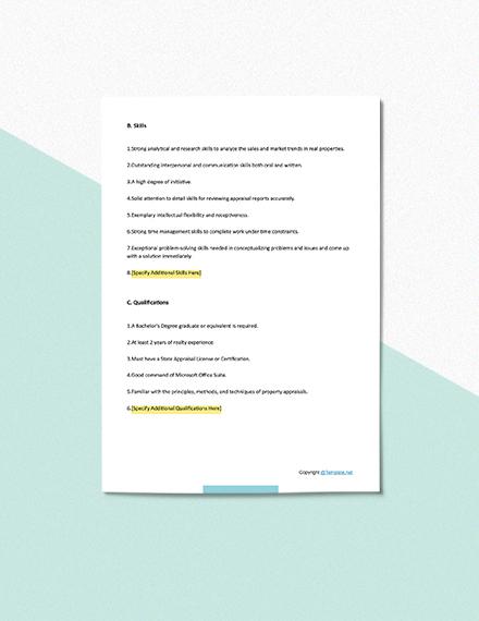 Free Real Estate Appraiser Trainee Job Description Template Download