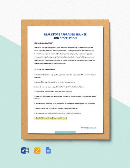 Free Real Estate Appraiser Trainee Job Description Template