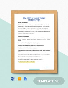 Free Real Estate Appraiser Trainee Job Description Template