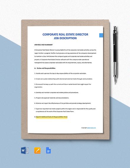 Free Corporate Real Estate Director Job Ad and Description Template