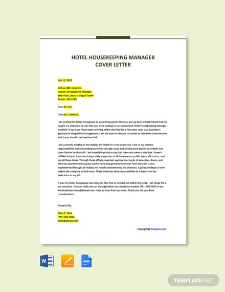 Check Free Hotel Housekeeping Manager Cover Letter Template