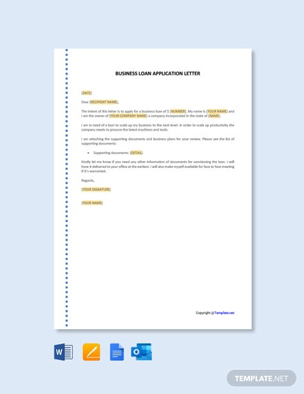 Free Business Loan Application Letter Template