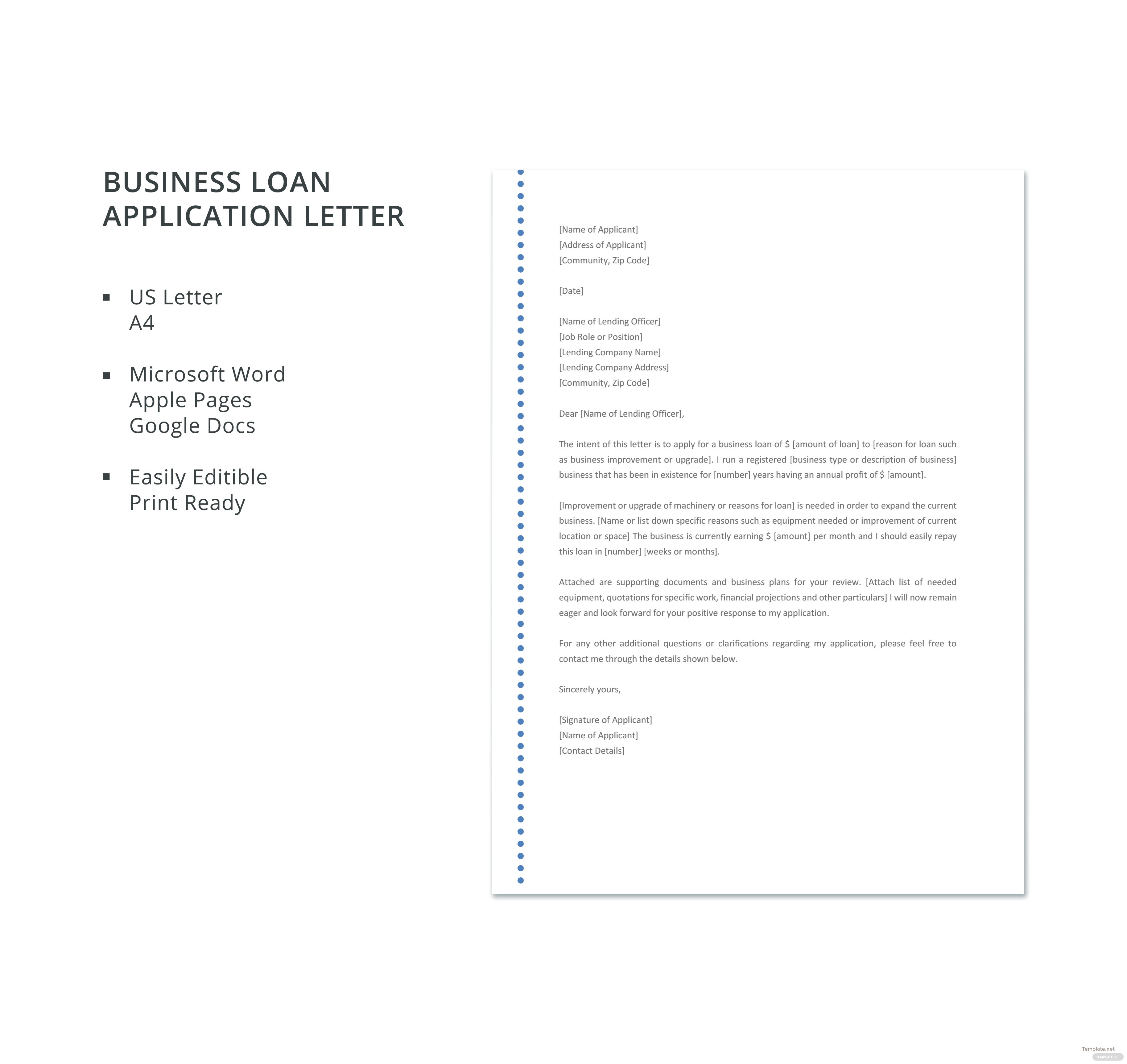Business loan application letter choice image reference letter business loan application letter template in microsoft word apple altavistaventures Image collections