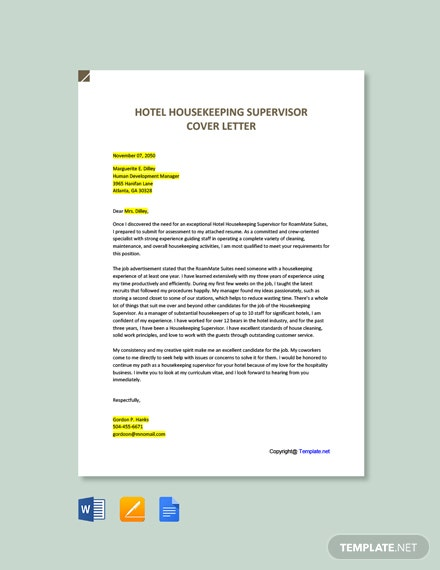 Free Hotel Housekeeping Supervisor Cover Letter Template