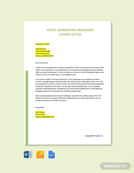 Free Hotel Marketing Manager Cover Letter Template