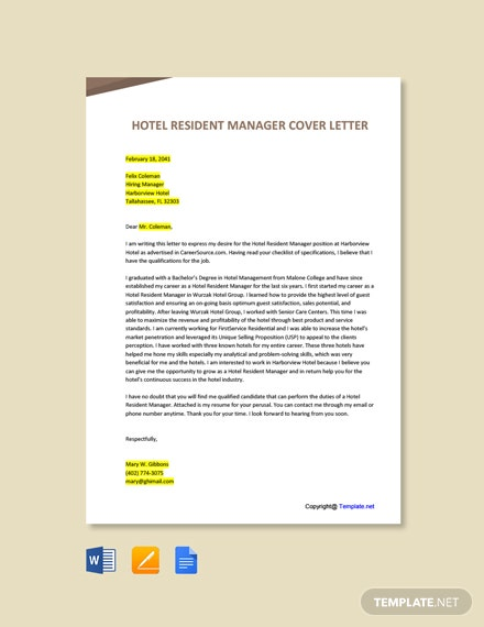 Free Hotel Resident Manager Cover Letter Template