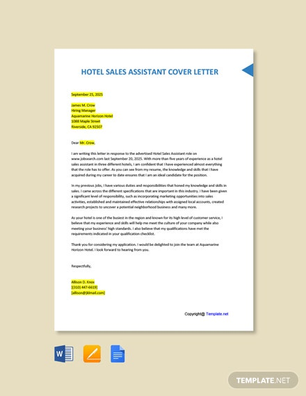 Free Hotel Sales Assistant Cover Letter Template