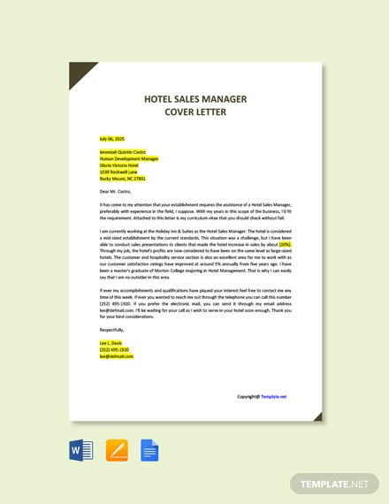 Free Hotel Sales Manager Cover Letter Template
