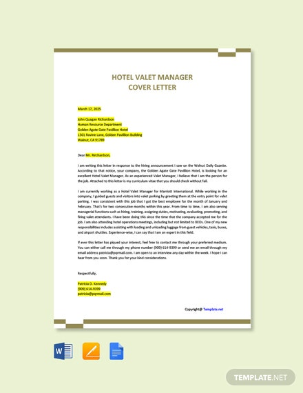 Free Hotel Valet Manager Cover Letter Template
