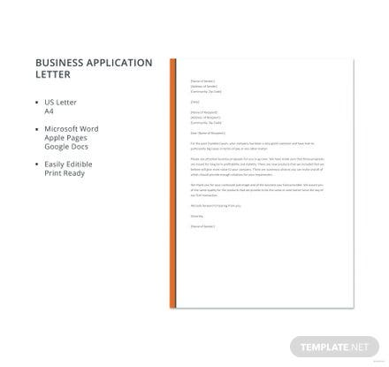 Free Business Application Letter Format