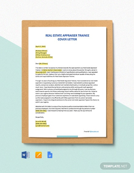 FREE Real Estate Appraiser Trainee Cover Letter - Word ...