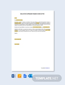 Free Real Estate Appraiser Trainee Cover Letter Template