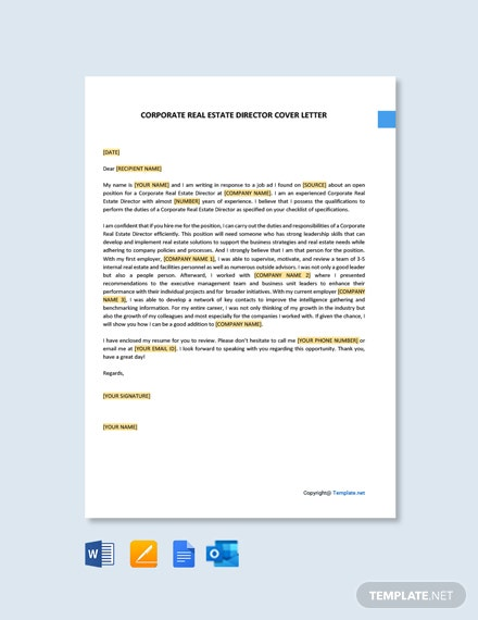 Free Corporate Real Estate Director Cover Letter Template