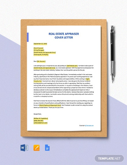 Free Real Estate Appraiser Cover Letter Template