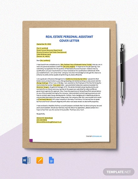 Free Real Estate Personal Assistant Cover Letter Template