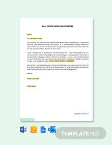 Free Real Estate Broker Cover Letter Template