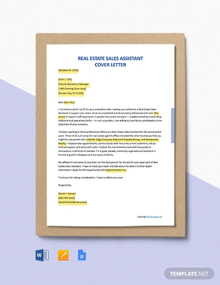 Free Real Estate Sales Assistant Cover Letter Template