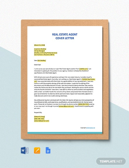Free Real Estate Agent Cover Letter Template