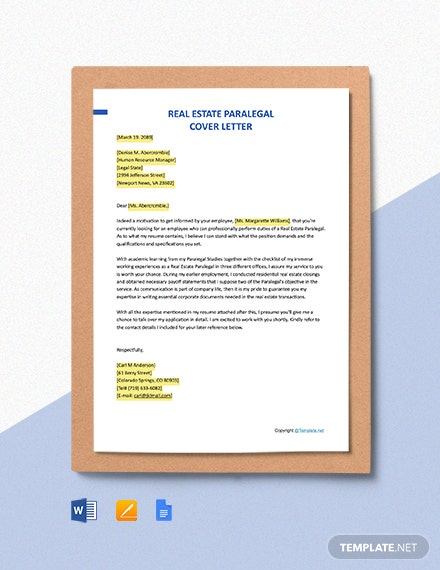 Free Real Estate Paralegal Cover Letter Template