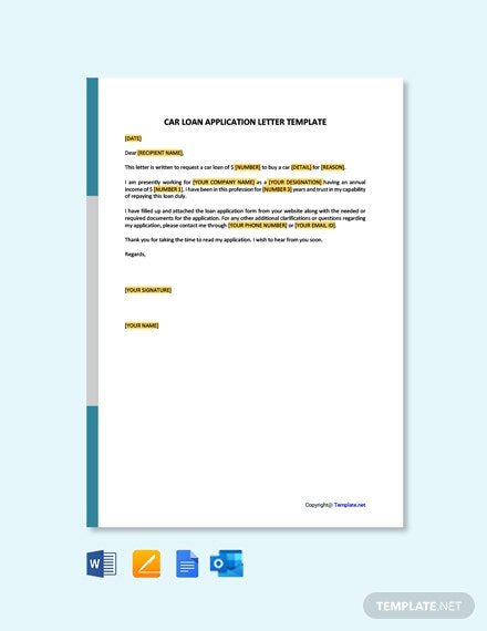 Car Loan Application Letter Template