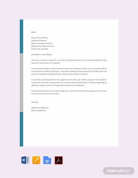Free Car Loan Application Letter Template