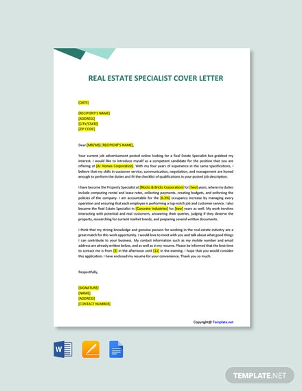 Free Real Estate Specialist Cover Letter Template