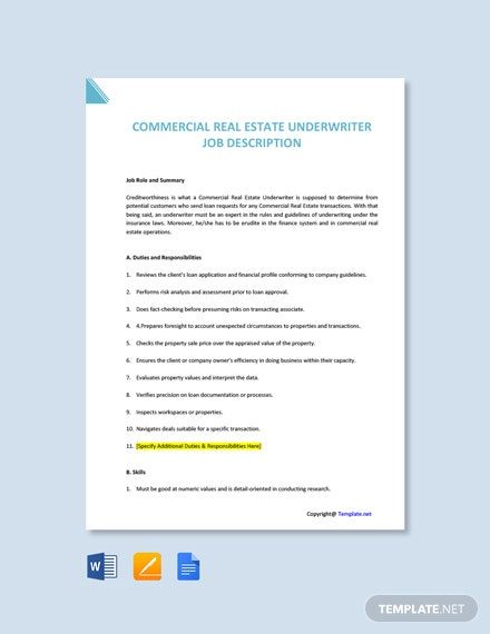 Free Commercial Real Estate Underwriter Job Ad and Description Template