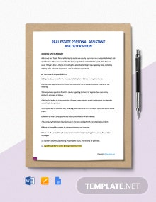 Free Real Estate Personal Assistant Job Description Template