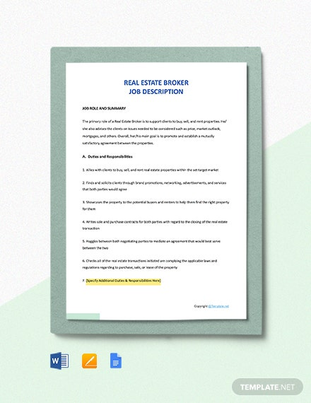 Free Real Estate Broker Job Description Template