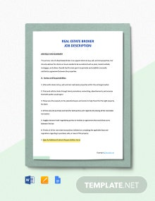 Free Real Estate Broker Job Description Template