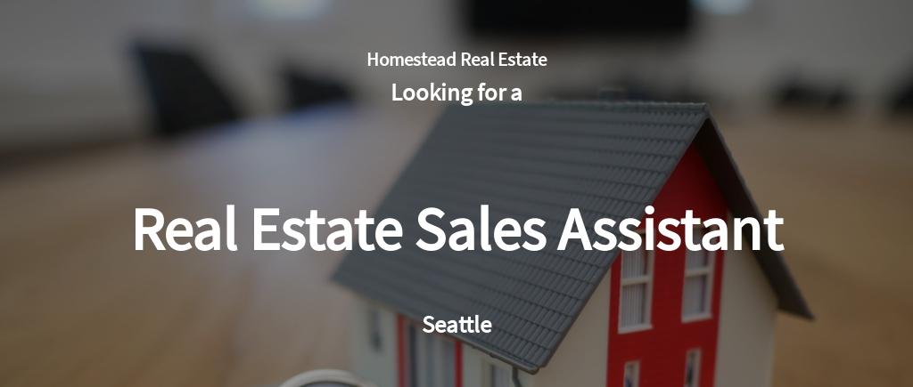 Real Estate Sales Assistant Job Description Template
