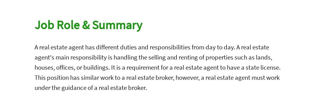 Real Estate Agent Job Description Template [Free PDF] - Google Docs, Word, Apple Pages