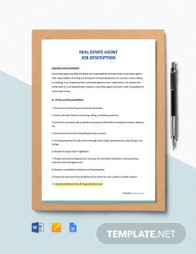 Free Real Estate Agent Job Description Template