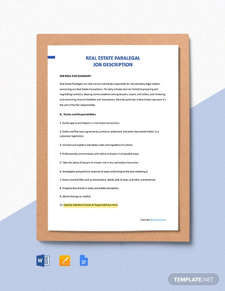 Free Real Estate Paralegal Job Description Template