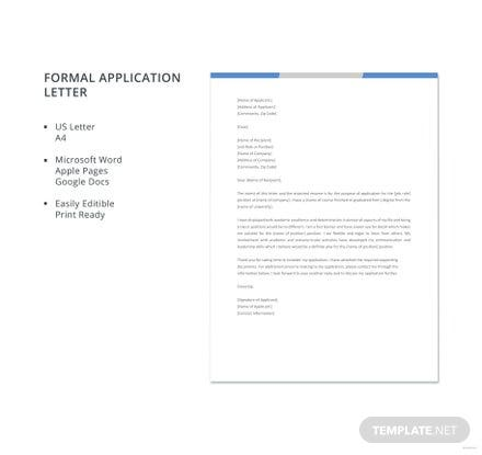 Free Formal Application Letter Format