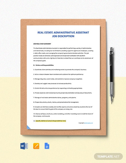 Free Real Estate Administrative Assistant Job Description Template