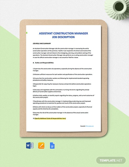 Free Assistant Construction Manager Job Ad and Description Template