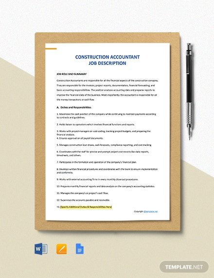 Free Construction Accountant Job Description Template