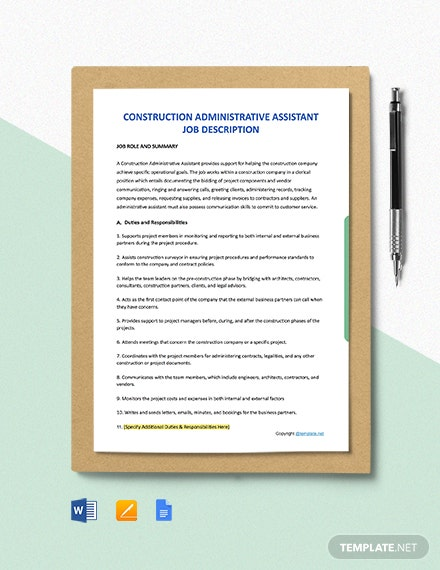 Free Construction Administrative Assistant Job Ad/Description Template