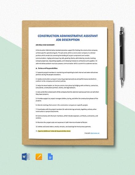 Free Construction Administrative Assistant Job Description Template