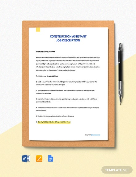 Free Construction Assistant Job Description Template