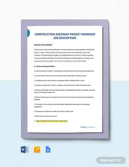 Free Construction Assistant Project Manager Job Ad and Description Template