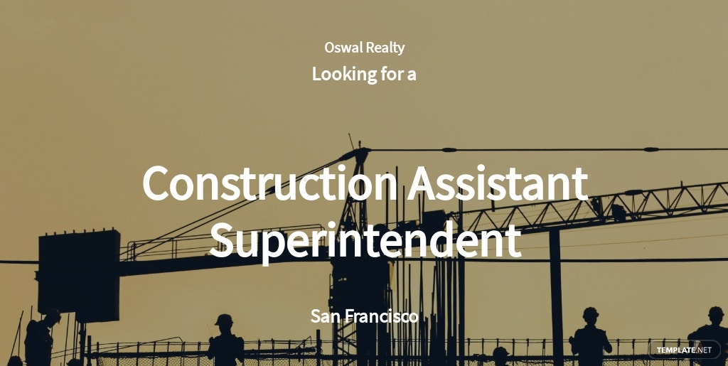 Construction Assistant Superintendent Job Ad and Description Template
