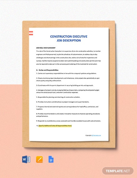 Free Construction Executive Job Description Template