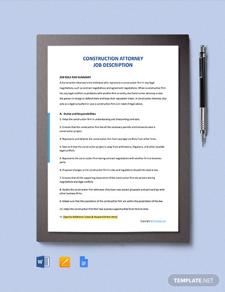 Free Construction Attorney Job Ad and Description Template