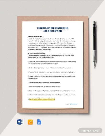 Free Construction Controller Job Ad and Description Template