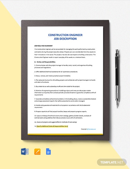 Free Construction Engineer Job Ad and Description Template