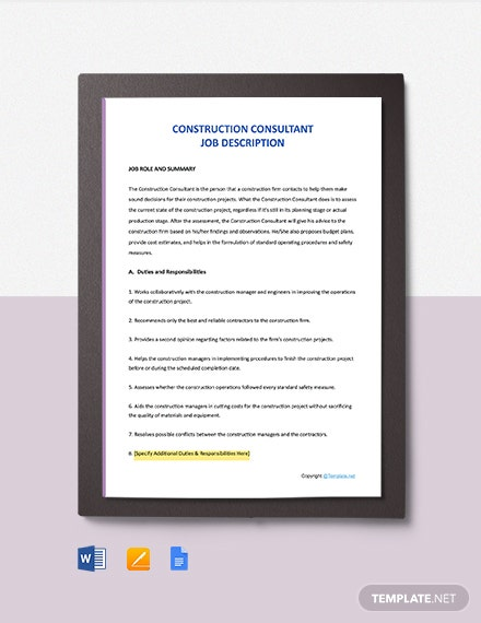 Free Construction Consultant Job Description Template