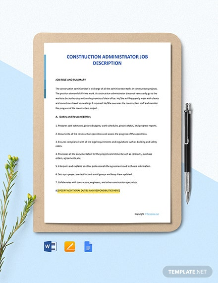 Free Construction Administrator Job Ad and Description Template