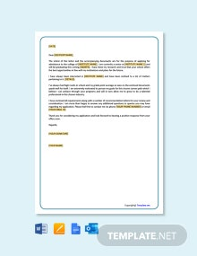 Free School Application Letter Template